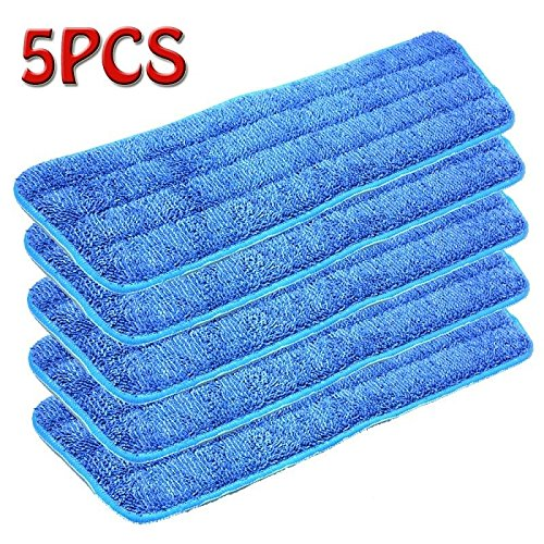 Xinxin 5Pcs Blue Microfiber Mop Pads Head Wet Dry Mops Refill for 15
