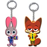 "2"" Zootopia Officer Judy Hopps & Nick Wilde Figures Toys Charms Keychain Dangle"