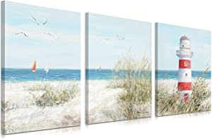 Abstract Beach Painting Lighthouse Decor Seagull Canvas Wall Art Teal Ocean Sea Bird Posters Sailing Boat Grass Landscae Pictures for Home Living Room Decorations Bathroom Ready to Hang 12 x16 Inchx3Panels