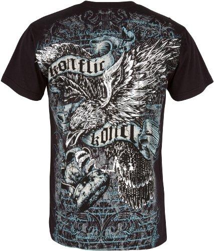 Eagle Clutching Crown T-Shirt aus Baumwolle für Männe Grau-Schwarz-2X