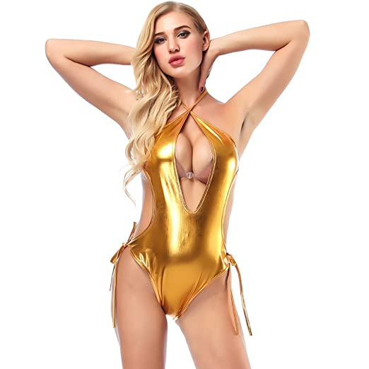 ba9b38650dbdf Women Exotic Shiny Metallic Backless Halter Bodysuit Sexy Wet-Look Teddy  Babydoll Lingerie One Piece