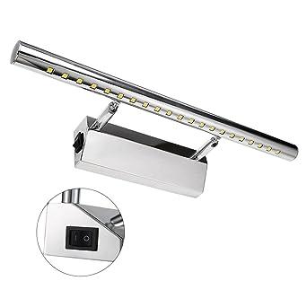 led spiegelleuchte mit schalter schrankleuchte 5w 180° einstellbar badlampe badleuchte spiegellampe wandleuchte aus edelstahl warmweiß 3500k  spiegellampen unheimlich stilvoll #9