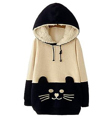 Japanese Fresh Girls Fleece Sweatshirts Cute Student Tabby Cat Pullover  Hoodies White Tag 2XL 05afb4f77c