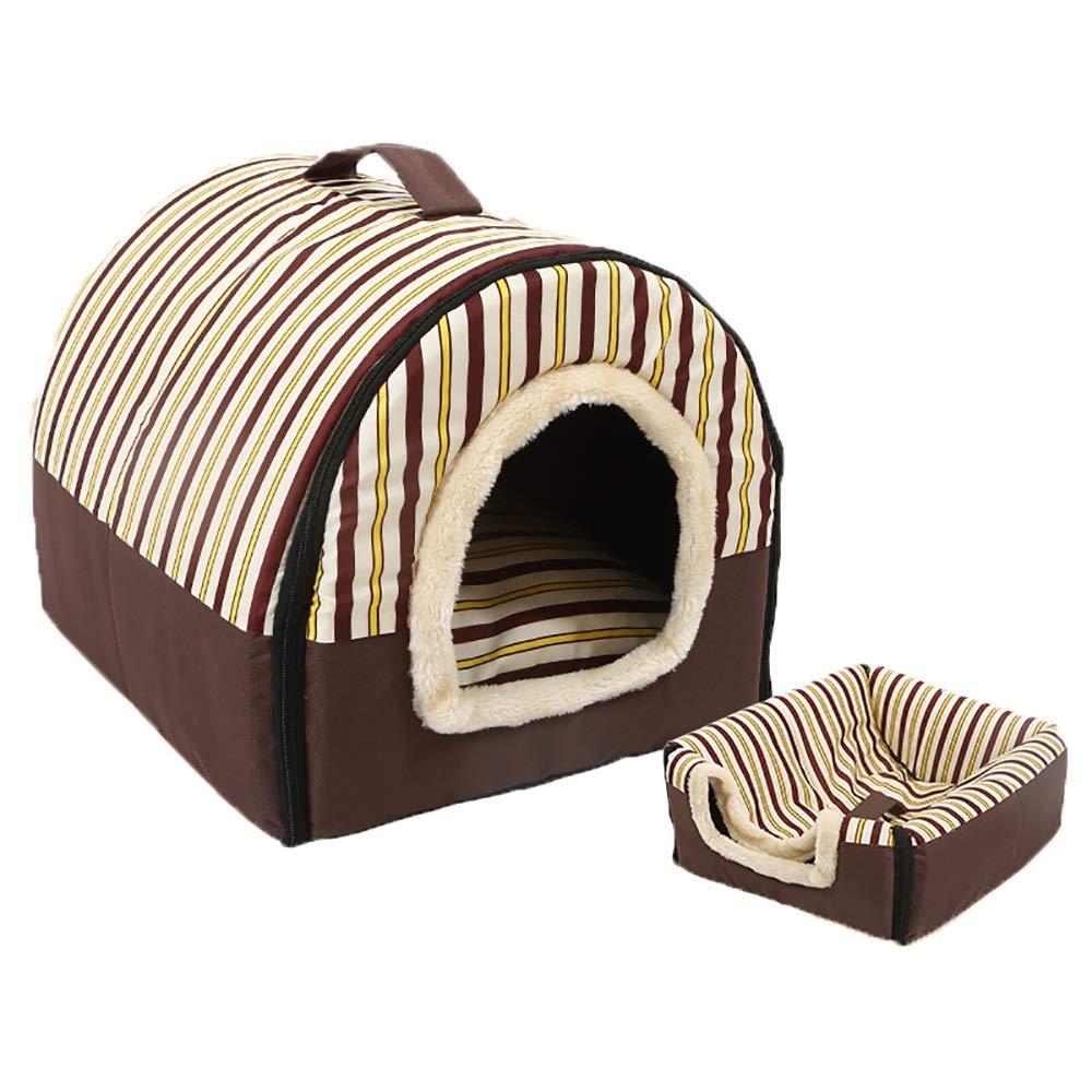 M(45x38x36cm) Cat Dog Bed Pet Mats, Soft Washable Dog Pet Warm Bed Dog Houses,Dual-use Detachable Pet Nest, Elegant Stripe Set of 2 (Size   M(45x38x36cm))