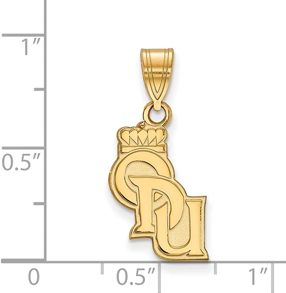 14k Yellow Gold Old Dominion University Monarchs School Vertical Claw Pendant