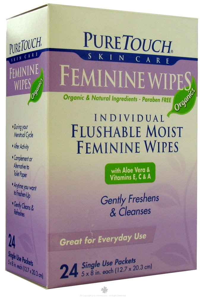 Pure Touch Skin Care - Individual Flushable Moist Feminine Wipes Organic - 24 Packet(s)