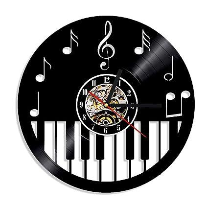 QUTICL 1 Pieza Teclado de Piano CD CD Reloj de Pared Instrumento Musical Arte de La
