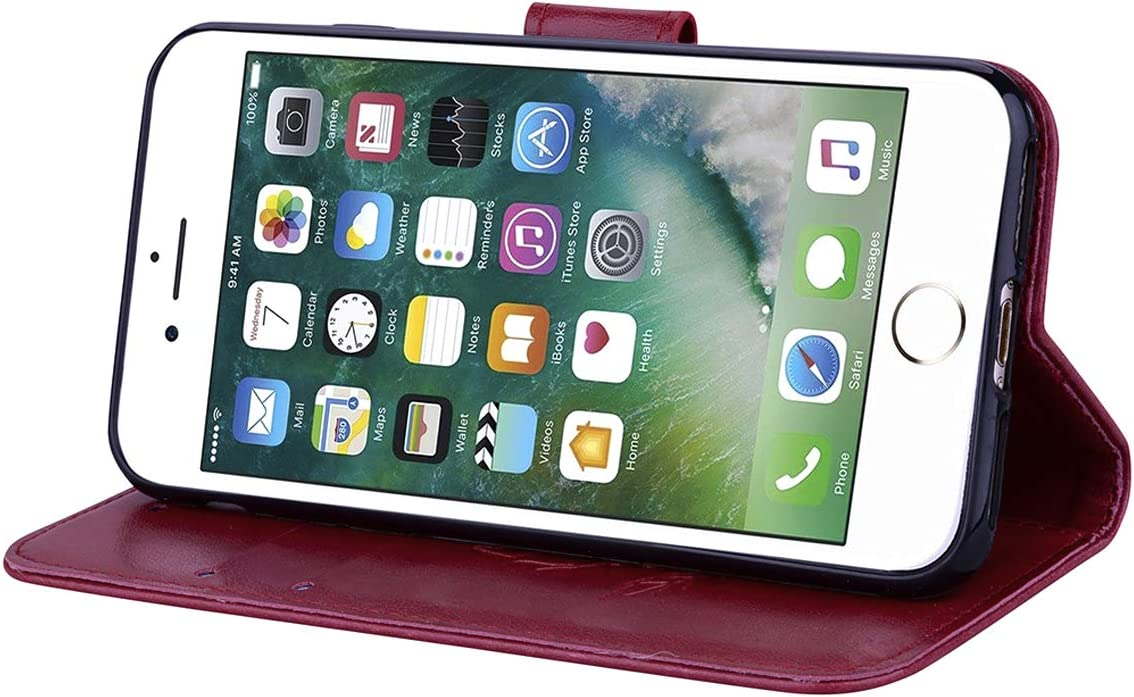 Magnetic closure for iPhone 7//8,Red Case for iPhone 7//iPhone 8 Flip Case Slim PU Leather Wallet Case Rose Embossing Shockproof Folding Stand Cover with Credit Card Holder