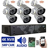 GW 8 Channel 5MP 1920P Network Wireless WiFi Security Camera System (NVR Kit) – 6 x HD 1920P Video & Audio Surveillance Outdoor/Indoor Wireless IP Cameras Built-In Microphone, 100FT IR Night Vision