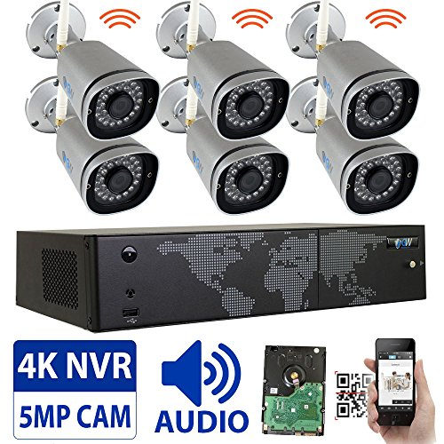 GW 8 Channel 5MP 1920P Network Wireless WiFi Security Camera System (NVR Kit) - 6 x HD 1920P Video & Audio Surveillance Outdoor/Indoor Wireless IP Cameras Built-In Microphone, 100FT IR Night Vision