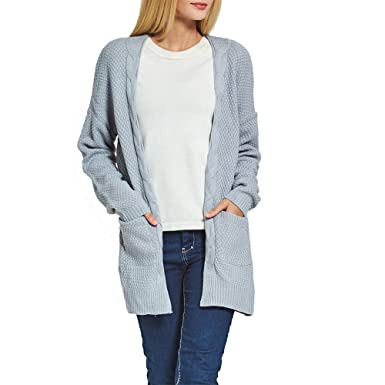 fab157254 Fantastic Zone Women s Long Sleeve Open Front Chunky Cable Knit ...