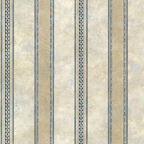 Chesapeake SRC76198 Castine Tuscan Stripe Wallpaper, Blue