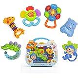 Lot de 6hochets Baby Animaux multicolores - Jouet - Première Dent - Cadeau d'anniversaire avec une petite valise bleu Beby