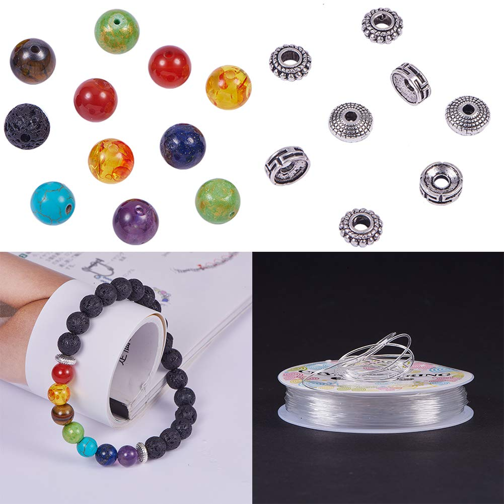 8mm Natural 7 Chakra Lava Stone Beads Round Loose Beads Kit Spacer Beads with Crystal Strings for Essential Oil Jewellery Making SUNNYCLUE 210pcs