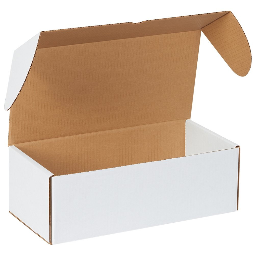 50-12 1//8 x 9 1//4 x 3 White Front Tab Lock Protective Shipping Mailer Box