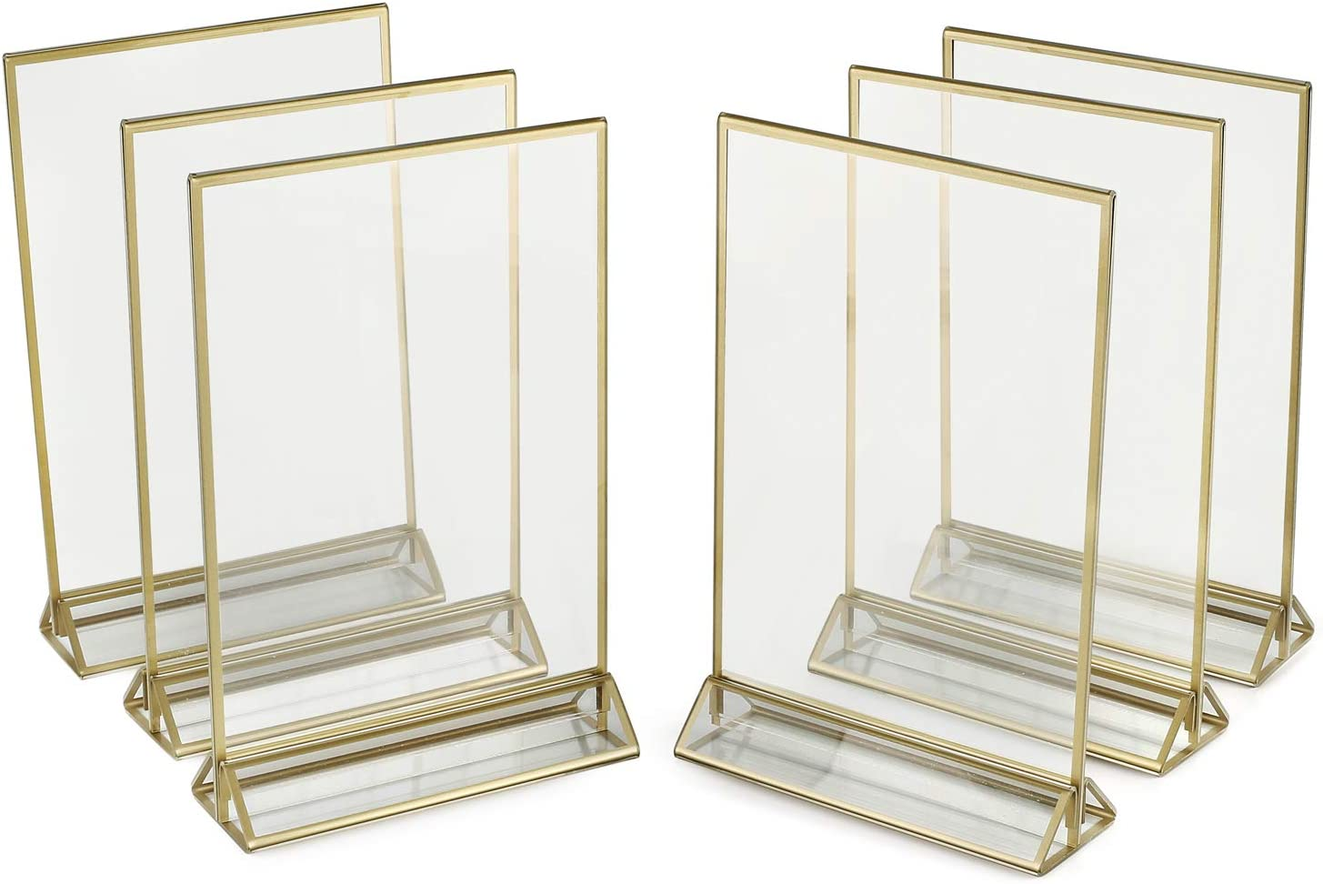 SUPER STAR QUALITY Clear Acrylic 2 Sided Frames With Gold Borders and Vertical Stand (Pack of 6) ) | Ideal for Wedding Table Number Holder, Double Sided Sign, Clear Photos, Menu Holders