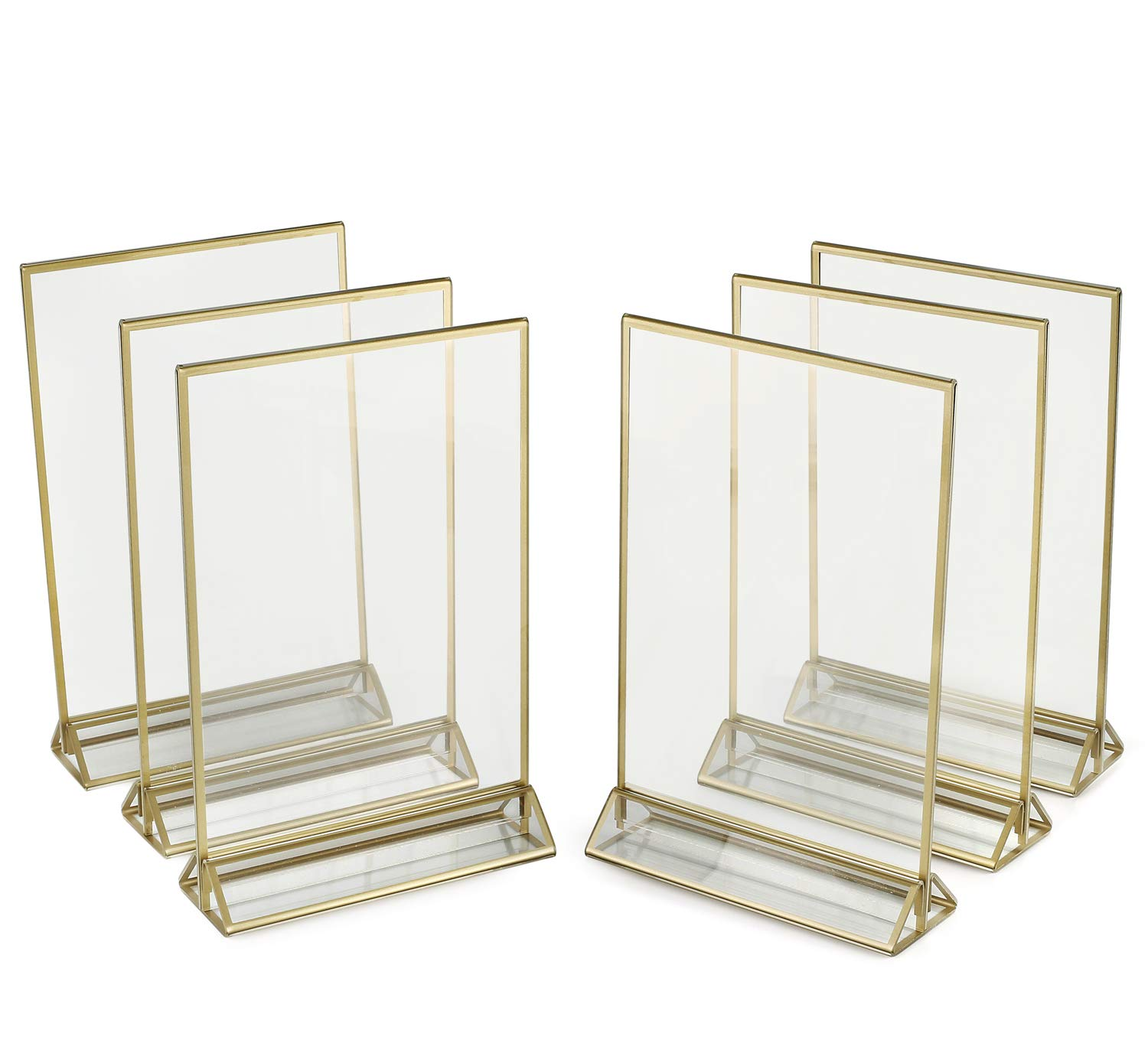 Pack of 6 SUPER STAR QUALITY Clear Acrylic 2 Sided Frames Display Holder with Vertical Stand and 3mm Silver Border 5 x 7-Inches