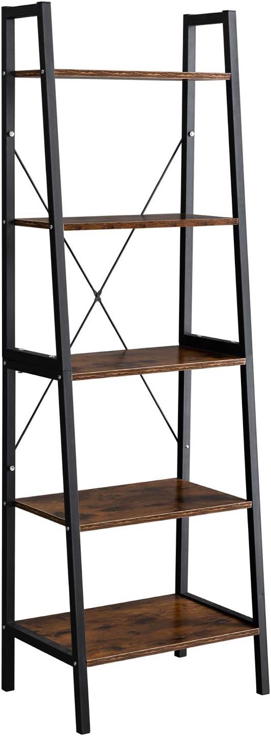 PARANTA Industrial Ladder Shelf, 5 Tier Bookshelf Multipurpose Organizer Rack Plant Flower Stand Storage Rack Wood Look Accent Metal Frame Furniture Home Office