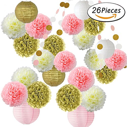 HONESTY 26 Pcs Pink Gold Pom Poms Flower And Paper Lanterns Party Decoration For Wedding Party Baby Party Even All Party Supplies 3 Bright Colors 3 - Pc Guardian Wood