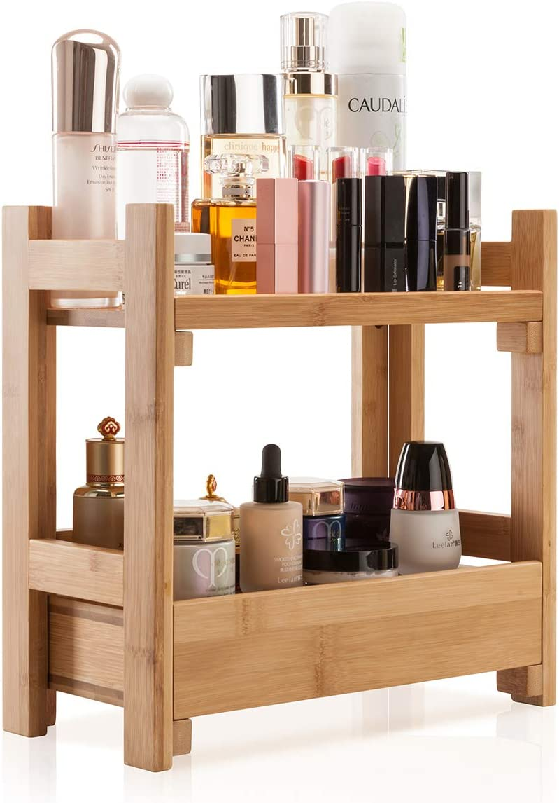 Amazon Com Gobam Makeup Organizer Holder Cosmetic Storage Bathroom Organizer Display Shelf With Drawer Large Capacity And Easily Assembled Suitable For Mom Or Wife Natural Bamboo Home Kitchen