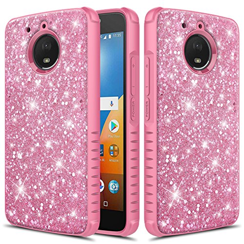 Townshop Moto E4 Plus Case, Heavy Duty Dual Layer Shockproof Bumper Case for Girls Women for Motorola Moto E4 Plus - Glitter Bling Pink