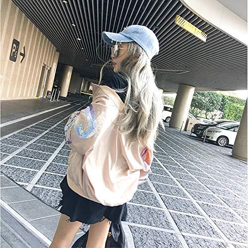 Uniforme Veste de bleu pour fin Parka paillettes baseball à femme grandes Zlululu lettres décontractées zCd4C