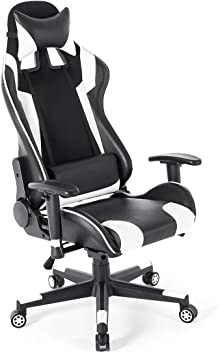 180° Lying Computer Gaming Chair Racing High Back Recliner Executive Footrest