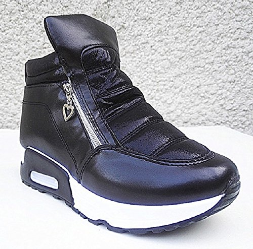 Basket compensées montante femme chaussure fille lacet sport mode chic WB-550 NOIR