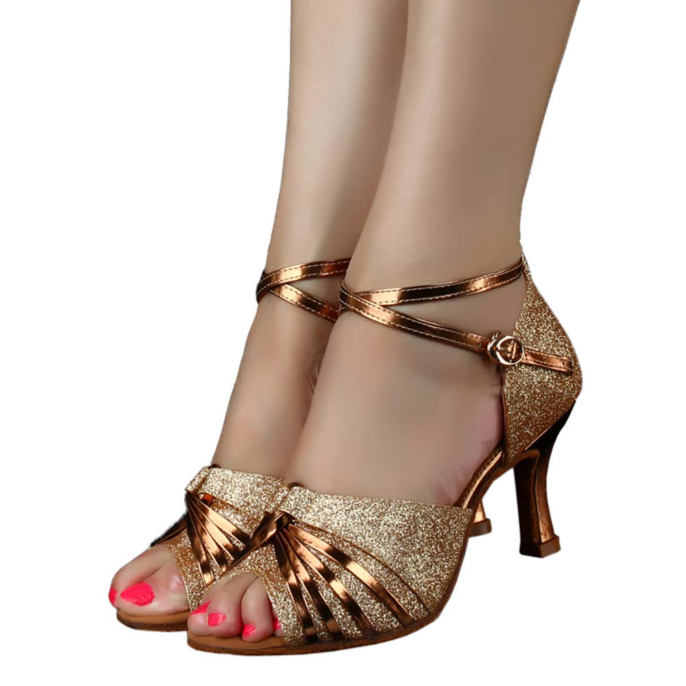 Glitter Latin Dance Sandals Women Open Toe Ballroom Party Salsa Rumba Dance Heel