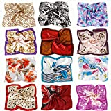 BMC 12pc Women's Silky Scarf Square Mixed Flower Patterns & Colors Fashion Accessory Set - Nature Nurtures Pack