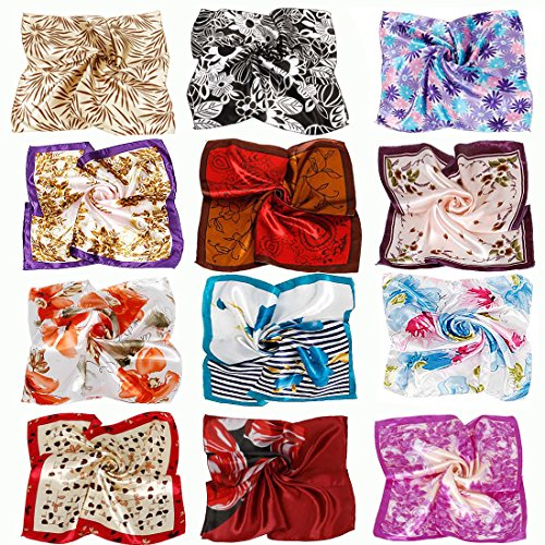 Womens Handbags Wholesale (BMC 12pc Women's Silky Scarf Square Mixed Flower Patterns & Colors Fashion Accessory Set - Nature Nurtures Pack)
