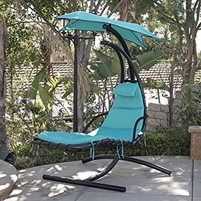 Hanging Chaise Lounger Chair Porch Patio Swing Hammock Canopy Camping Turquoise Bonus free ebook By Allgoodsdelight365