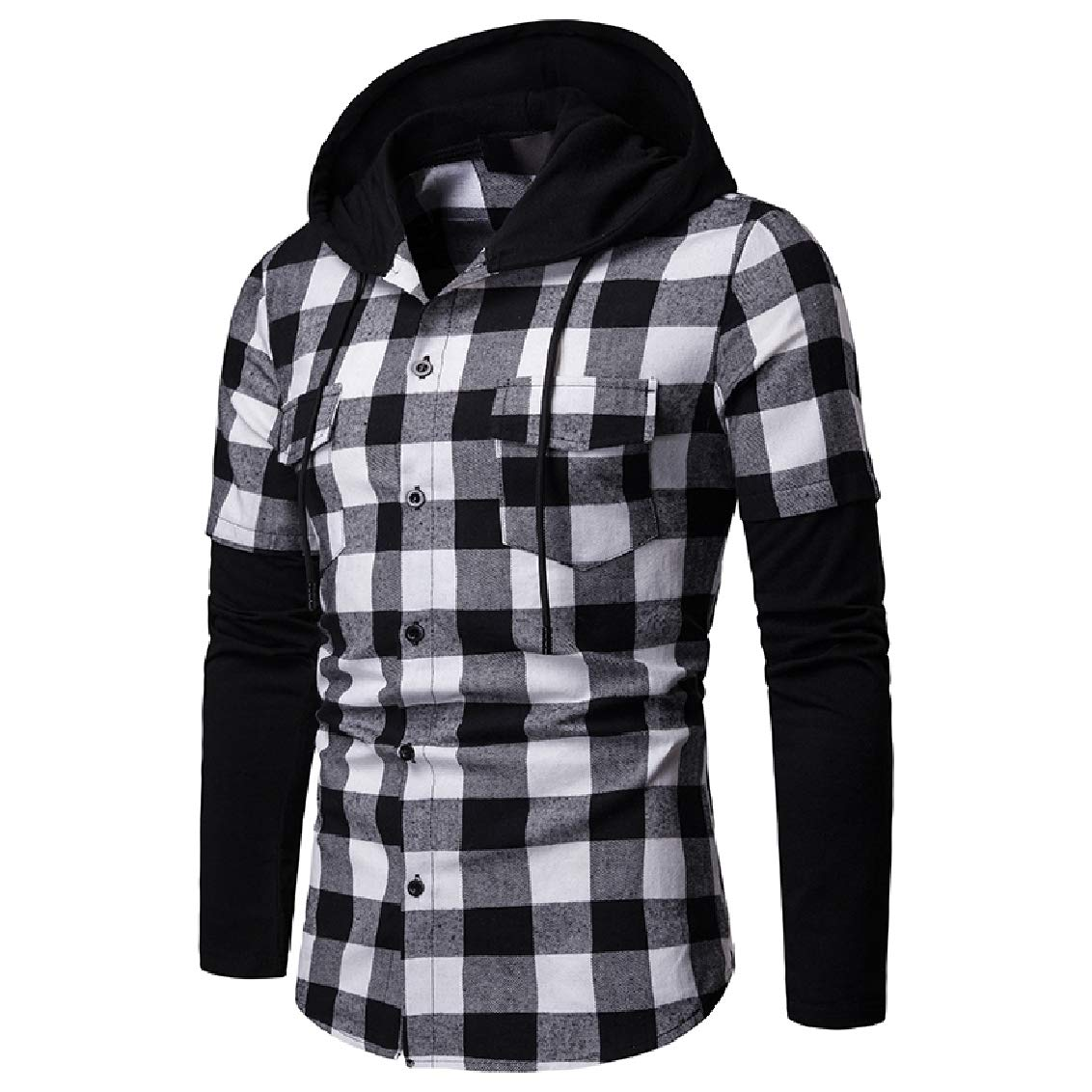 Fubotevic Men Pockets Button Up Hooded Long Sleeve Patchwork Plaid Shirts
