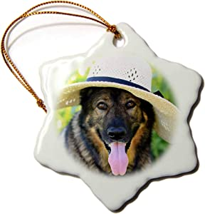 3dRose Photograph of Our German Shepherd Dog, Maggie, Wearing a Garden. - Ornaments (ORN_301365_1)