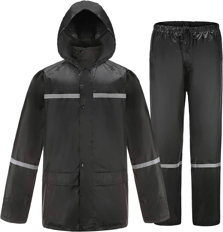 Mens Outdoor Rain Suit Jacket /& Trouser Waterproof Windproof Lightweight Fishing