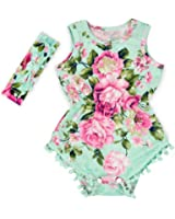 Hollyhorse Hot Pink Floral Flower Pom Rompers For Baby Girls with Headband 0-3T