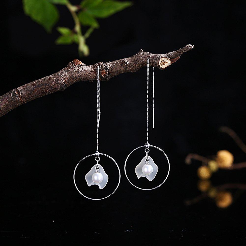 Phospher Trendy Silver Earrings Personal Pearl Earrings A