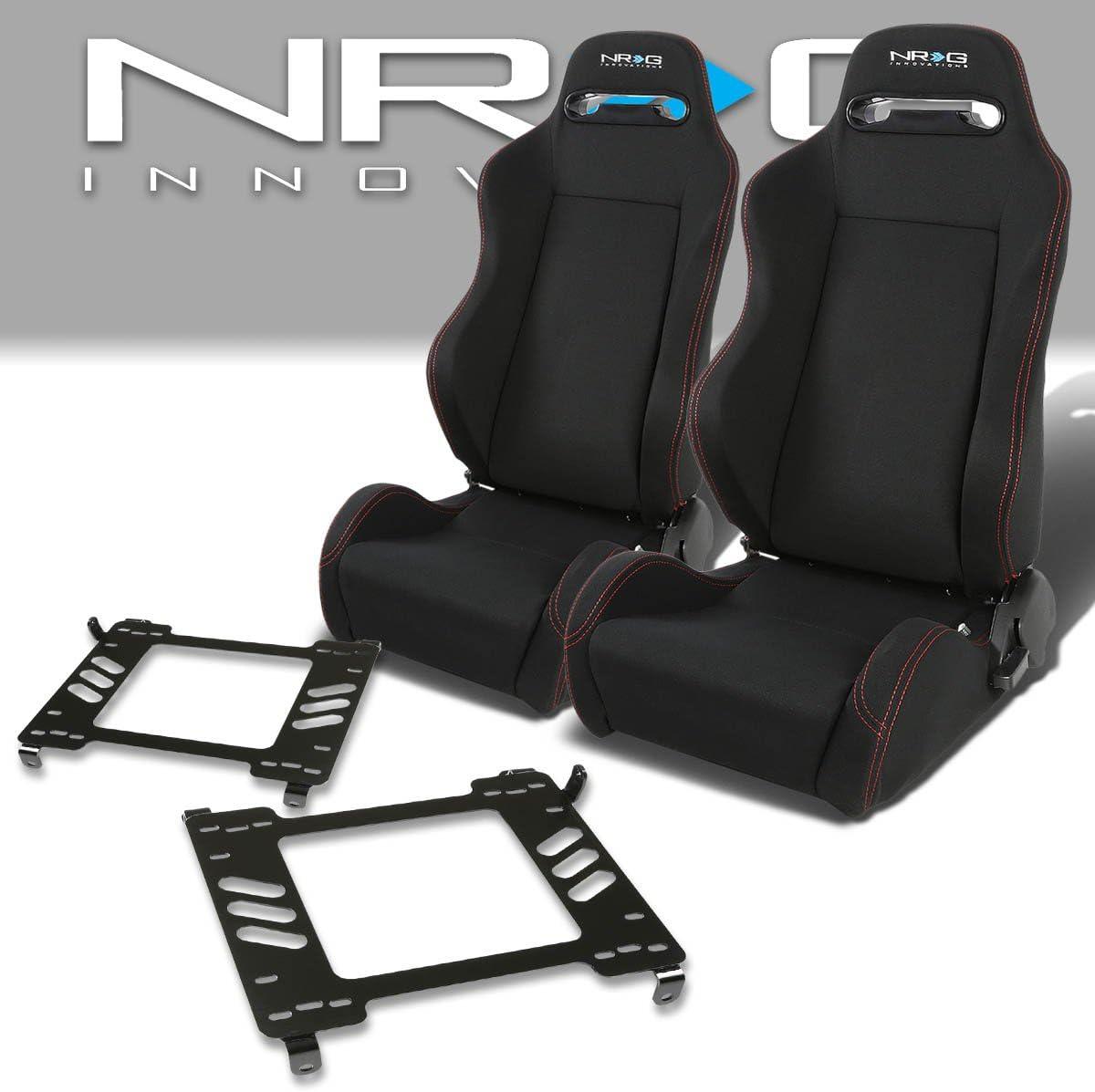 Pair of RSTRLGBK Racing Seats+Mounting Bracket for Ford Mustang 5th Gen
