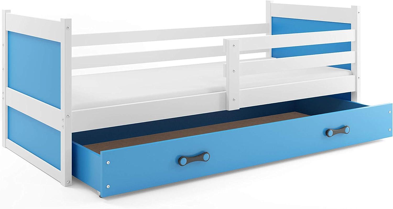 Interbeds Cama Individual Rico para colchón 190X90, SOMIER Y CAJÓN Gratis! colchón de Espuma Gratis! Color Blanco (Azul)