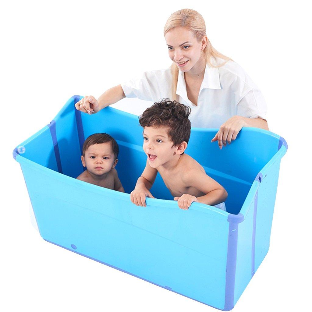 Badewannen-Badefass Erwachsenen-Falt-Kinderhaus Badewannenfass Verdickung sitzen (Color : Blue, Size : 95 * 56 * 48cm)