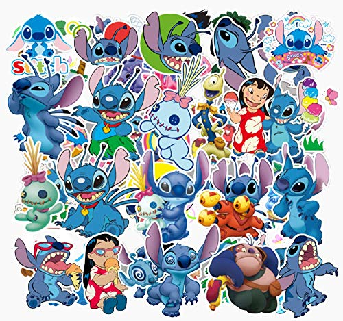 Lilo And Stitch Halloween Games (55 Packs Cartoon Anime Stickers for Lilo & Stitch Water Bottles Laptop Phone Motorcycle Computer Guitar Skateboard HydroflasksVinyl Sticker Waterproof Aesthetic Trendy Decals for Teens Girls)