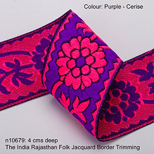 Neotrims Vibrant Floral Jacquard ribbon Trim Decoration for Sari Border, Salwar Kameez, for Crafts and Home Décor. Beautiful Continuous flowing design with Unusual Bright and Fluorescent colours. Its Stunning: The India Rajasthan Folk design trim. Buy by the meter or 1 reel or 9 meters Sari length.