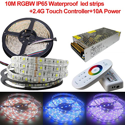 Firstsd Full Kit 10M RGBWW Waterproof IP65 LED Strip 5050 SMD 600leds Color Changing Flexible String Lights+2.4G Touch Remote RGBWW Controller+10A Power (RGBWW(RGB+Warm white))