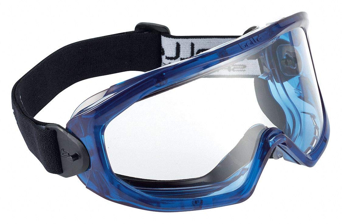 Bolle Safety Super Blast Goggle with Clear Lens, Black/Blue, Clear by Bolle