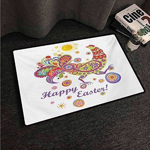 HCCJLCKS Non-Slip Door mat Easter Colorful Farm Animal with Blossoming Flowers Dots and Curls Egg Filled Background Easy to Clean Carpet W24 xL35 Multicolor