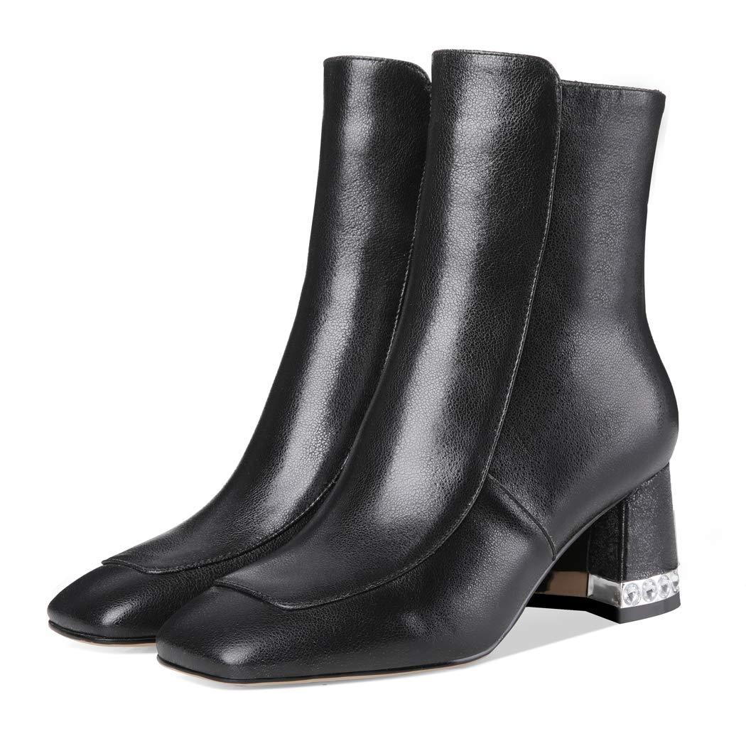 ANNIESHOE Stiefeletten Damen Kurzschaft Elegant Strass Leder Ankle Boots  Blockabsatz Herbst  Amazon.de  Schuhe   Handtaschen c162324cbb