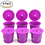 BRBHOM 6 Reusable K Cups Refillable Capsules Coffee Filter Pod For Keurig 2.0, K200, K250, K300, K350, K400, K450, K460, K500, K550, K560 and 1.0 Brewers