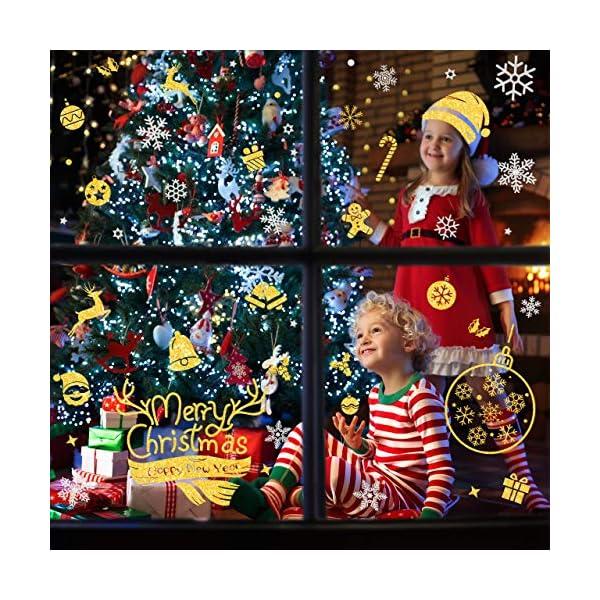 WOKKOL Decorazioni Natalizie, Vetrofanie Natale Finestre, Adesivi Vetro Natalizi, Rimovibile Adesivo Fiocco di Neve Fa Casa Piena di Atmosfera Natalizia (Gold & Silver Color-10PCS -2 Styles) 5 spesavip