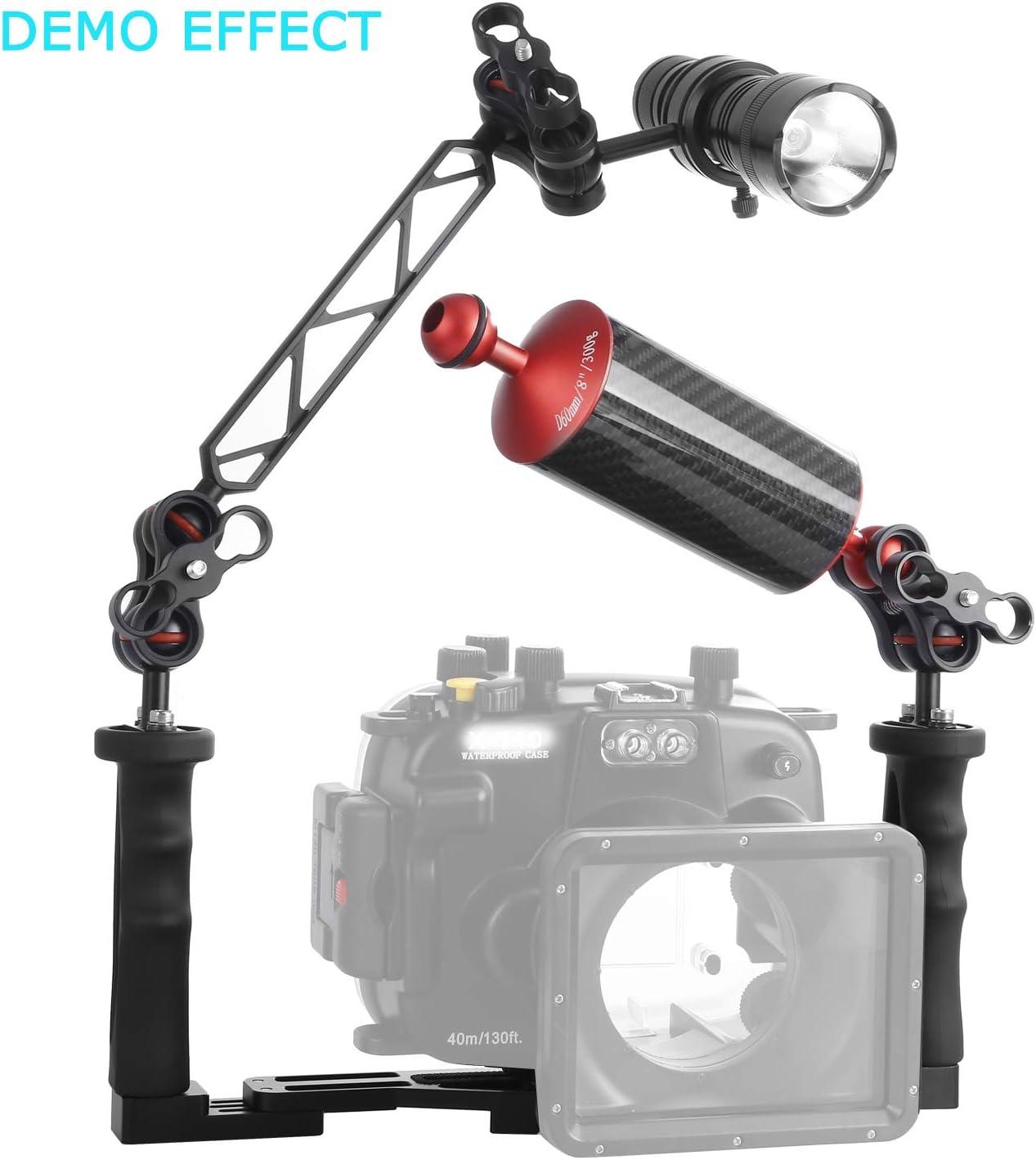 20.5 cm D60mm Carbon Fiber Underwater Float Arm for Video Light//Strobe mounting Black WEIHE 8