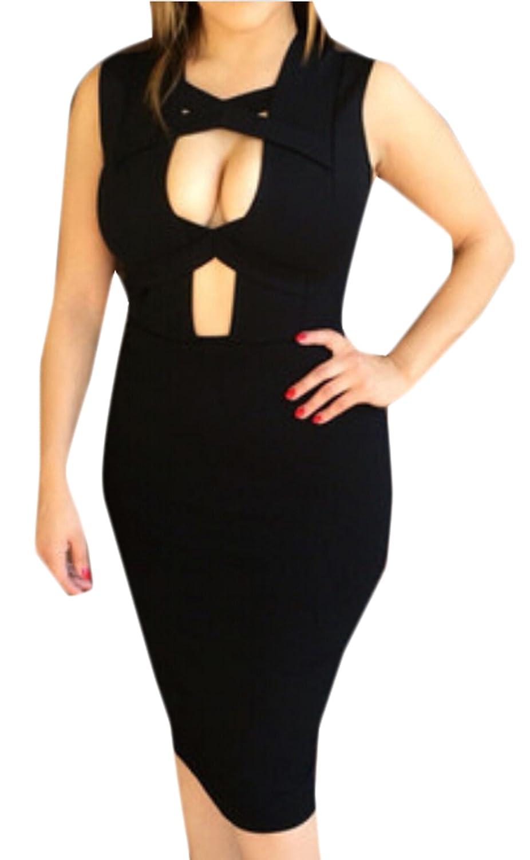 BYBU Women's Sexy Black Sleeveless Mini Party Club Dress